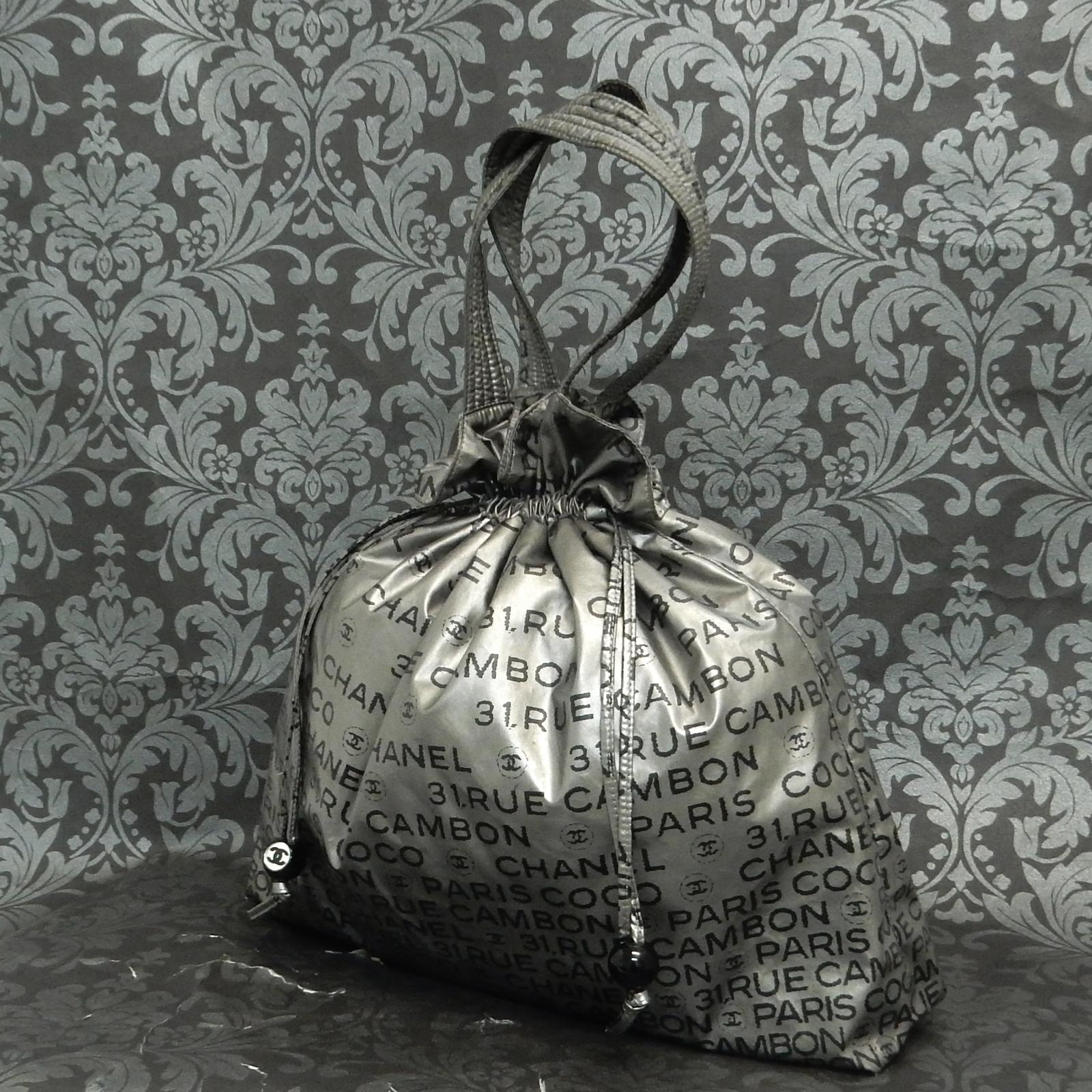60e9e735d860 Details about Rise-on CHANEL Unlimited Nylon Silver DRAWSTRING Tote bag  Shoulder Bag  2007