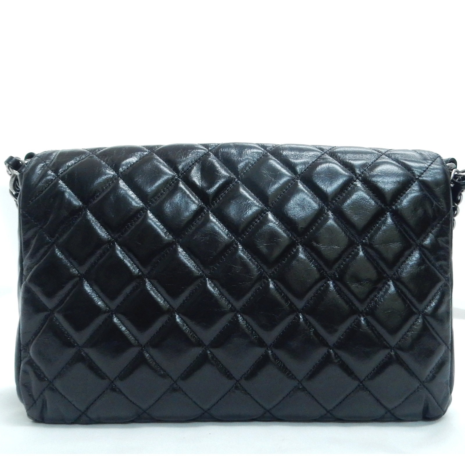 3f349899e6d2 Rise-on CHANEL Metalic Quilted Leather Black Flap Chain Shoulder Bag ...