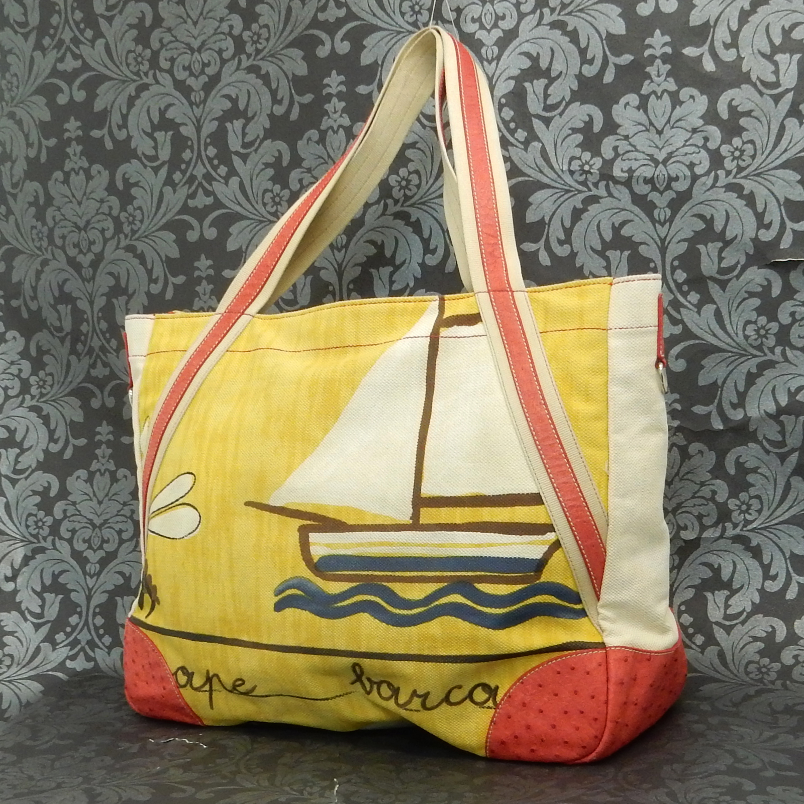 5a02384a34 ... top quality rise on prada canvas ostrich sailboat beach beige yellow  red tote 17bb3 39d1a ...